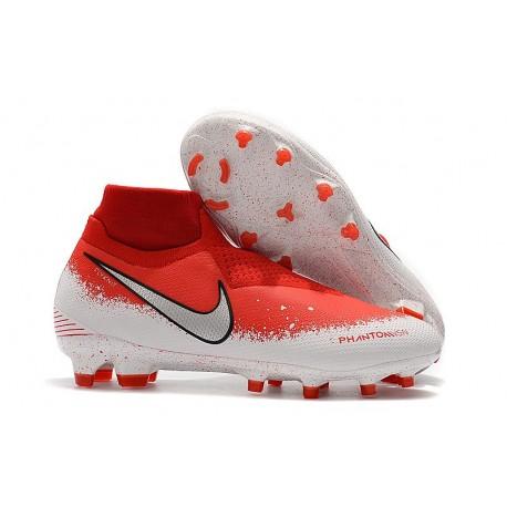 Nike Phantom Vision Elite DF FG Tacos de Futbol - Rojo Blanco