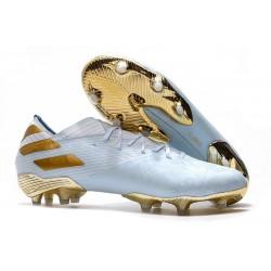Zapatos de Fútbol adidas Nemeziz 19.1 FG - Agua Dorado metalizado Blanco