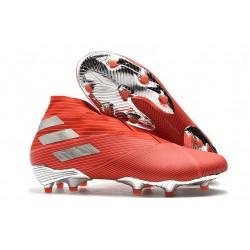 adidas Botas de fútbol Nemeziz 19+ FG Rojo Plata