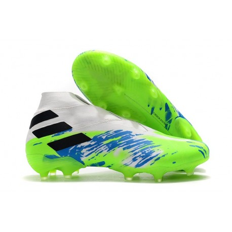 adidas Botas de fútbol Nemeziz 19+ FG Blanco Verde Azul
