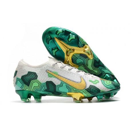 Mbappe Nike Mercurial Vapor 13 Elite FG Zapatilla -Gris Verde Oro