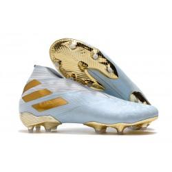Zapatillas de Futbol adidas Nemeziz 19+ FG Agua/Dorado metalizado /Blanco