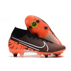 Zapatillas Nike Mercurial Superfly 7 Elite SG-PRO Nike Mercurial Superfly VII Elite SG-Pro Negro Blanco Hyper Crimson