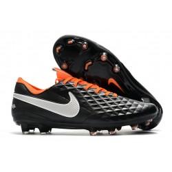 Nike Tiempo Legend 8 Elite FG Botas de Fútbol Negro Naranja Blanco