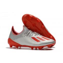 Botas de Fútbol adidas X 19.1 FG - Plata Rojo