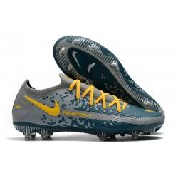 Nike Phantom GT Elite FG Botas de fútbol para terreno Azul Gris Amarillo