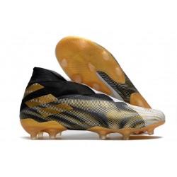 Zapatillas Futbol adidas Nemeziz 19+ FG Blanco Dorado Metalizado Negro
