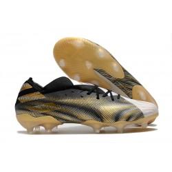 Zapatos Fútbol adidas Nemeziz 19.1 FG - Blanco Dorado Metalizado Negro