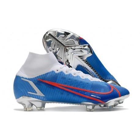 Nike Bota Mercurial Superfly 8 Elite FG Azul Blanco Rojo