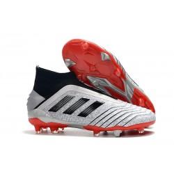Botas de fútbol adidas Predator 19+ Fg - Plata Negro Rojo