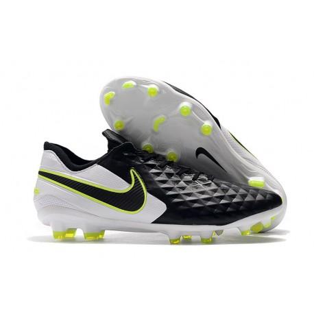 Nike Tiempo Legend 8 Elite FG Botas de Fútbol Negro Blanco Voltio